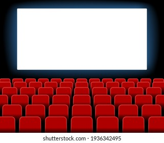 Cinema screen. Cinema with screen and seat. Theater hall with interior. Auditorium for movie, theatre. Empty stage for film. Red chair with scene for presentation. Background for advertising. Vector.