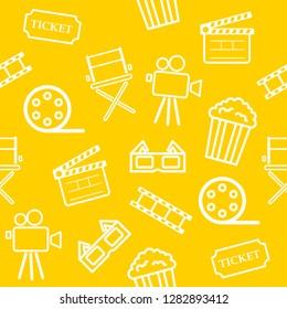 Cinema seamless pattern on  White Blackground. icons movie. Cartoon cute. vector illustration