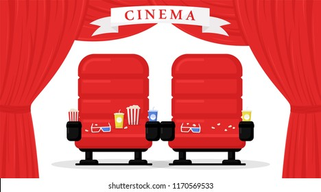 Cinema seats isolated on white background. Simple modern cartoon design. Red chair, popcorn, 3d glasses, drinks, curtains. Icon, logo, beautiful background. Flat style vector illustration.