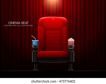 Cinema seat.Theater seat on curtain with spotlight background vector illustration