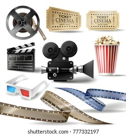 Cinema set of 3D realistic objects bucket with popcorn, reel, tape, glasses, camcorder, movie tickets and clapperboard. Vector colorful design elements of film industry isolated on white background