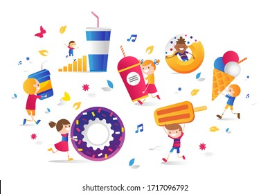 Cinema set drinks, sweets for children, vector illustration. Smiling character boys and girls run around with food, donut, ice cream, soda paper cup. Watching movie in cinema with snack.