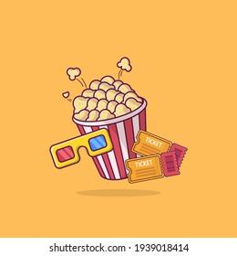 Cinema set icon illustration. cartoon style illustration. flat vector Illustration.
