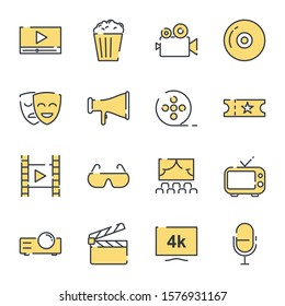 Cinema set icon template color editable. Movie Theater pack symbol vector sign isolated on white background icons vector illustration for graphic and web design.