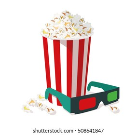 Cinema set with popcorn and 3D glasses. Vector cinema illustration isolated on white background.