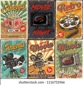 Cinema set of posters. Vector vintage illustration.