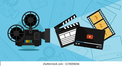 Cinema shooting and video vector illustration of a flat