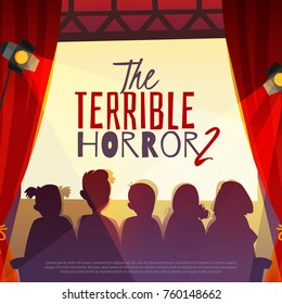 Cinema show with horror film on screen, silhouettes of viewers in auditorium with spotlights cartoon vector illustration