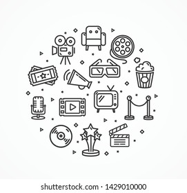 Cinema Signs Round Design Template Thin Line Icon Concept Include of Glass, Tv, Filmstrip, Popcorn, Ticket and Megaphone. Vector illustration