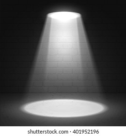 Cinema spotlight glow effect background. Light beam on black stage highlight important. Show spotlight background vector. Stage limelight on dark brick background. Vector scene illuminated spotlight.