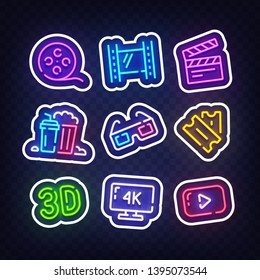 Cinema stickers for social media. Movie neon sign, emblem. Film, Popcorn, 3D glasses, Tickets, 4k film and Play icon. Vector Illustration
