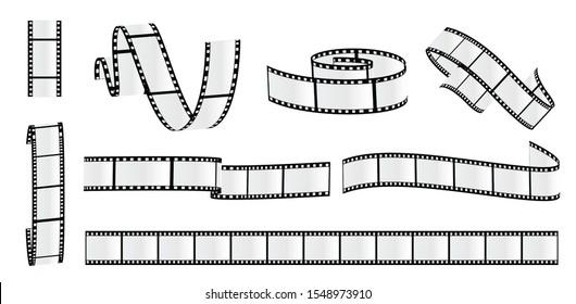 Cinema strip roll. Film roll vector, film 35mm blank slide frame, photo video monochrome picture, negative and strip, media filmstrip. Vector illustration.