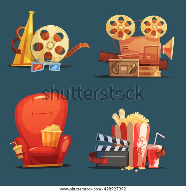 Cinema Symbols 4 Retro Style Icons Stock Vector Royalty Free 428927392
