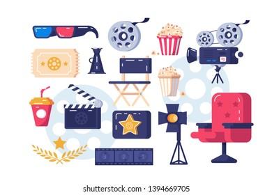 Cinema symbols set vector illustration. 3d glasses popcorn paper glass cine-film chair palm branch flat style design. Festival concept. Isolated on white