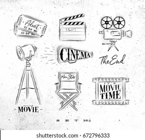 Cinema symbols ticket, clapperboard, movie camera, horn, searchlight, chair for a movie star, cine film drawing on dirty paper background set 2