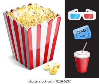 Cinema symbols vector set isolated. 3-d glasses, ticket, soda, popcorn
