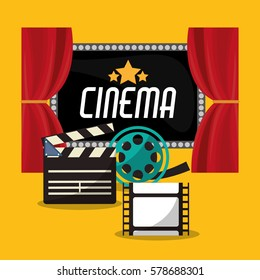 cinema teather reel film clapper and board