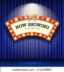 Cinema Theater curve sign blue curtain light up banner design background, vector illustration