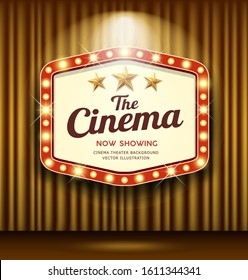Cinema Theater Hexagon sign gold curtain light up banner design background, vector illustration