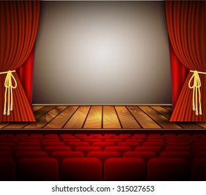 Cinema or theater scene with a curtain. Vector