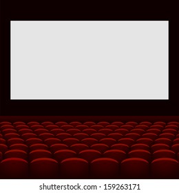 Cinema theater with screen and seats.