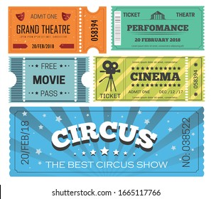Cinema and theater ticket, admission or paper pass vector isolated objects. Circus show or movie, performance and play, entertainment, film reel and video camera. Acting masks, free entrance