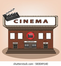 Cinema theater vintage old building facade icon retro style.