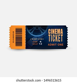 Cinema ticket close up top view isolated on white background. Realistic admission pass mockup or performance coupon. Template Ticket for Theatre, Movie, Festival, Concert.Design 3d vector illustration