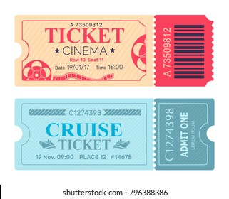 Cinema ticket cruise coupon set of vector illustrations pass admissions to entertainment and travelling event with control check code in blue colors