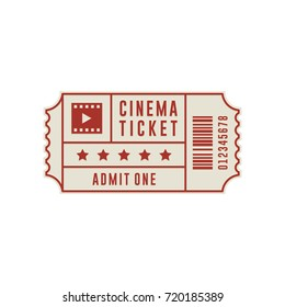cinema ticket design vector line illustration
