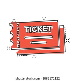 Cinema ticket icon in comic style. Admit one coupon entrance cartoon vector illustration on white isolated background. Ticket splash effect business concept.