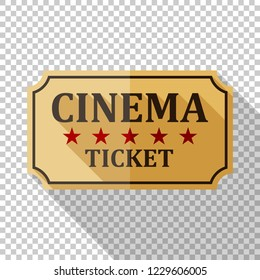 Cinema ticket icon in flat style with long shadow on transparent background