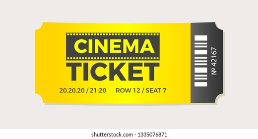 Cinema Ticket icon vector illustration in the flat style. Ticket stub isolated on a background. Retro movie event tickets.