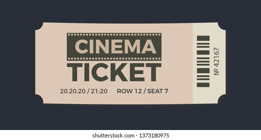 Cinema Ticket icon vector illustration in the flat style. Ticket stub isolated on a background. Retro movie event tickets
