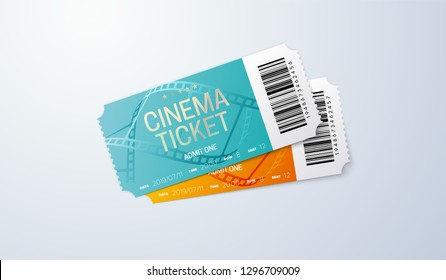 Cinema ticket isolated on transparent background. Vector realistic illustration. Movie admission coupon design