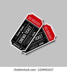 Cinema ticket isolated on white background. Retro movie coupon. Vector illustration.