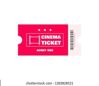 Cinema ticket isolated on white background. Vector illustration.