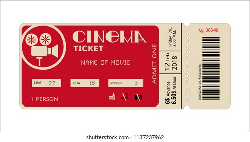 cinema ticket, movie coupon for film entertainment