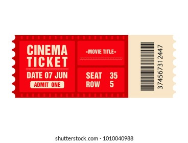 Cinema ticket. Movie ticket template isolated on white background. Vector