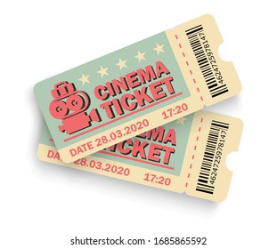 Cinema ticket. Realistic ticket template. Theater ticket in realistic style. Vector