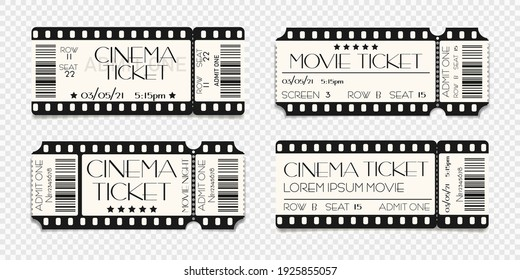 Cinema ticket template mockup with barcode. Vector illustration of realistic show admission in retro style. Vintage performance ticket or coupon design