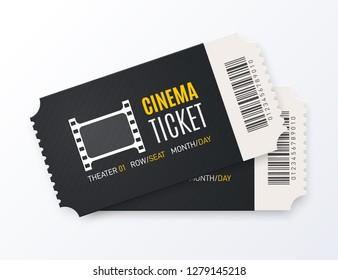 Cinema ticket vector illustration.