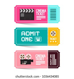 Cinema Ticket Vector Illustration. Admit One Movie Flat Design Tickets.