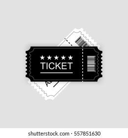 Cinema ticket. Vector illustration. Gray background
