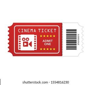 Cinema ticket vector with symbolic barcode. Retro ticket icon creative cinema concept.
