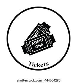 Cinema tickets icon. Thin circle design. Vector illustration.