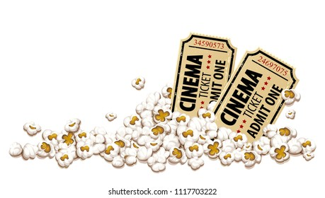 Cinema tickets for movie theater in popcorn, isolated white background. EPS10 vector illustration.