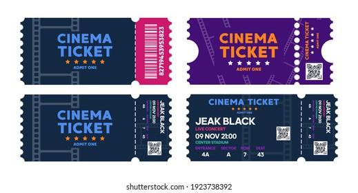 Cinema tickets on background. Pass ticket on film. Vector illustration