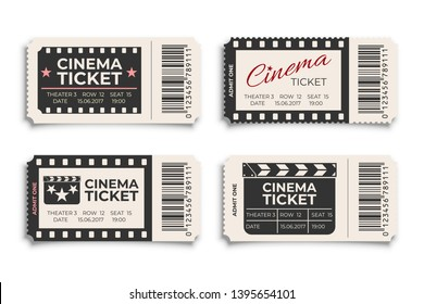 Cinema tickets realistic vector template. Coupon, discount voucher mockups set. Movie, raffle, carnival blank ticket with barcode and text space. Concert, event, festival paper admit layout