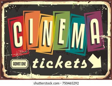 Cinema tickets retro sign with colorful typography on black background. Movies and entertainment vintage sign design template.